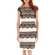 Melrose Short-Sleeve Shutter-Pleat Lace Dress