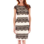 Melrose Short-Sleeve Shutter-Pleat Lace Dress