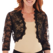 Melrose 3/4-Sleeve Open-Front Lace Shrug Jacket