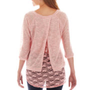 Self Esteem® Long-Sleeve Lace-Back Top