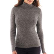 Liz Claiborne® Long-Sleeve Ribbed Turtleneck Sweater