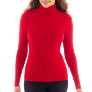 Liz Claiborne® Long-Sleeve Ribbed Turtleneck Sweater