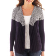 Liz Claiborne® Long-Sleeve Marled Colorblock Cardigan Sweater