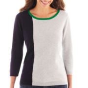 Liz Claiborne® 3/4-Sleeve Colorblock Sweater - Tall