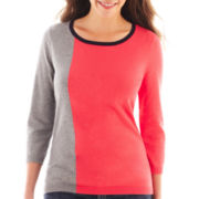 Liz Claiborne® 3/4-Sleeve Colorblock Sweater
