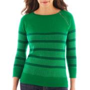 Liz Claiborne® 3/4-Sleeve Zip-Neck Sweater