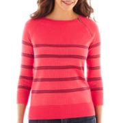 Liz Claiborne 3/4-Sleeve Zip-Neck Sweater