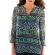 Liz Claiborne® 3/4-Sleeve Mosaic Striped Blouse with Cami - Tall