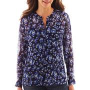 Liz Claiborne Long-Sleeve Button-Front Floral Blouse with Cami