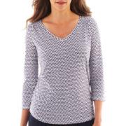Liz Claiborne® 3/4-Sleeve Dot Tee