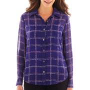 Liz Claiborne® Long-Sleeve Button-Front Plaid Blouse with Cami