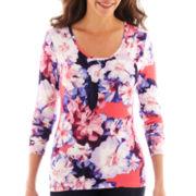 Liz Claiborne® Long-Sleeve Floral Print Tee