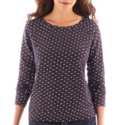 Liz Claiborne Long-Sleeve Dot Sweatshirt