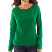 Liz Claiborne Long-Sleeve Dot Sweatshirt - Tall