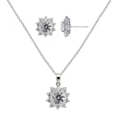 jcpenney.com | DiamonArt® Cubic Zirconia Sterling Silver Flower Earring and Pendant Necklace Set