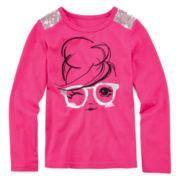 Okie Dokie® Sequin-Shoulder Graphic Top - Preschool Girls 4-6x
