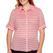 St. John's Bay® 3/4-Sleeve Gauze Campshirt - Plus
