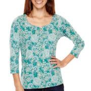 St. John's Bay® 3/4-Sleeve Print Knit Top - Petite