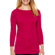 St. John's Bay® 3/4-Sleeve Paisley Print Textured Knit Top - Tall
