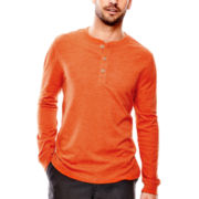 St. John's Bay® Long-Sleeve Solid Sueded Henley