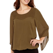 Alyx® 3/4-Sleeve Smocked Bubble Top