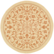 Courtyard Geometric Border Indoor/Outdoor Round Rugs