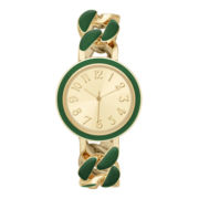 Womens Gold-Tone Enamel Chain Bracelet Watch