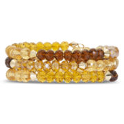 Yellow & Brown Glass Bead Coil Bracelet
