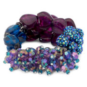 Aris by Treska Chunky Blue & Purple 2-Row Stretch Bracelet