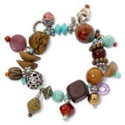 Aris by Treska Chunky Multicolor Dangling Bead Stretch Bracelet