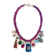 ZOË + SYD Color-Treated Purple Jade Charm & Ribbon Necklace