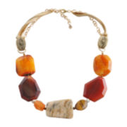 Art Smith by BARSE Orange Gemstone & Leather Necklace