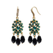 ZOË + SYD Onyx & Green Crystal Chandelier Earrings