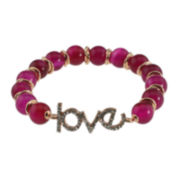 NATE & ETAN Color-Treated Pink Agate Love Stretch Bracelet