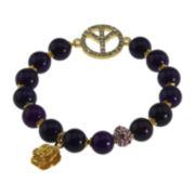 NATE & ETAN Color-Treated Purple Agate Peace Stretch Bracelet