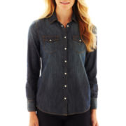 Liz Claiborne Long-Sleeve Roll Tab Denim Shirt - Petite