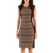 R&M Richards Sleeveless Lace Inset Sheath Dress - Petite