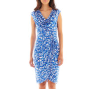London Style Collection Cap-Sleeve Side-Ruched Dress - Petite