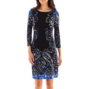 London Style Collection 3/4-Sleeve Shift Dress - Petite