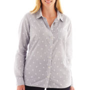 jcp™ Long-Sleeve Relaxed-Fit Essential Shirt - Plus