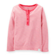 Carter's® Long-Sleeve Striped Henley – Girls 2t-4t