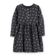 Carter's® Long-Sleeve Bow-Print Knit Dress – Girls 2t-4t