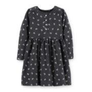 Carter's® Long-Sleeve Bow-Print Knit Dress – Girls 2t-4t