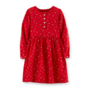 Carter's® Long-Sleeve Snowflake-Print Knit Dress – Girls 2t-4t