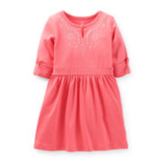 Carter's® 3/4 Sleeve Keyhole Dress – Girls 2t-4t