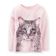 Carter's® Long-Sleeve Knit Cat Tee – Girls 2t-4t