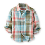 Carter's® Long-Sleeve Button-Front Plaid Poplin Shirt – Boys 2t-4t