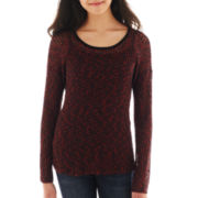 by&by Long-Sleeve Marled Knit High-Low Top