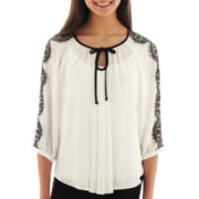 by&by 3/4-Sleeve Lace-Shoulder Chiffon Top