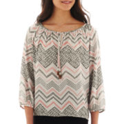 Hollywould Long-Sleeve Crochet-Back Chevron Print Top